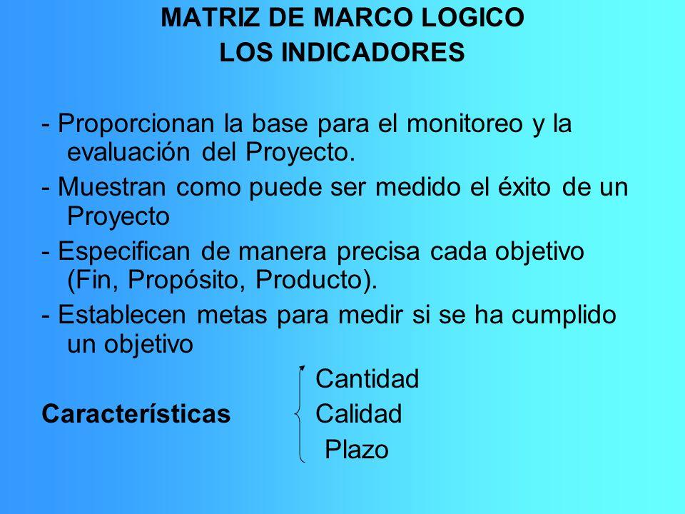 MATRIZ DE MARCO LOGICO LOS INDICADORES. - Proporcionan la base para el monitoreo y la evaluación del Proyecto.