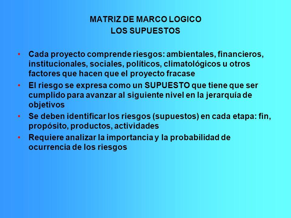 MATRIZ DE MARCO LOGICO LOS SUPUESTOS.