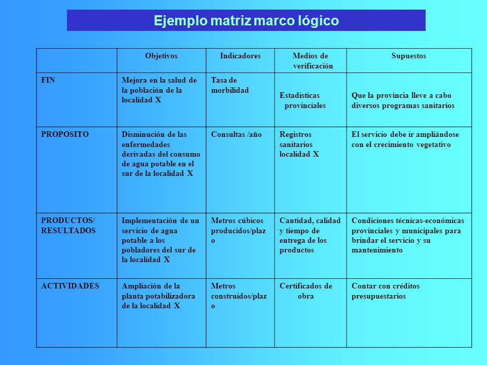 Ejemplo matriz marco lógico Medios de verificación