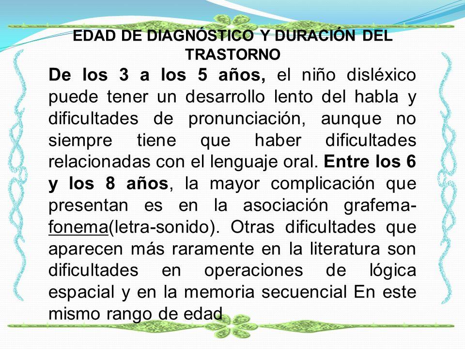 EDAD DE DIAGNÓSTICO Y DURACIÓN DEL TRASTORNO