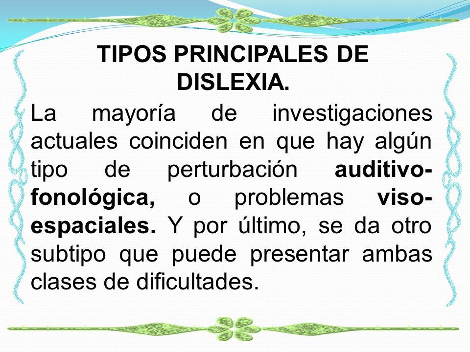 TIPOS PRINCIPALES DE DISLEXIA.