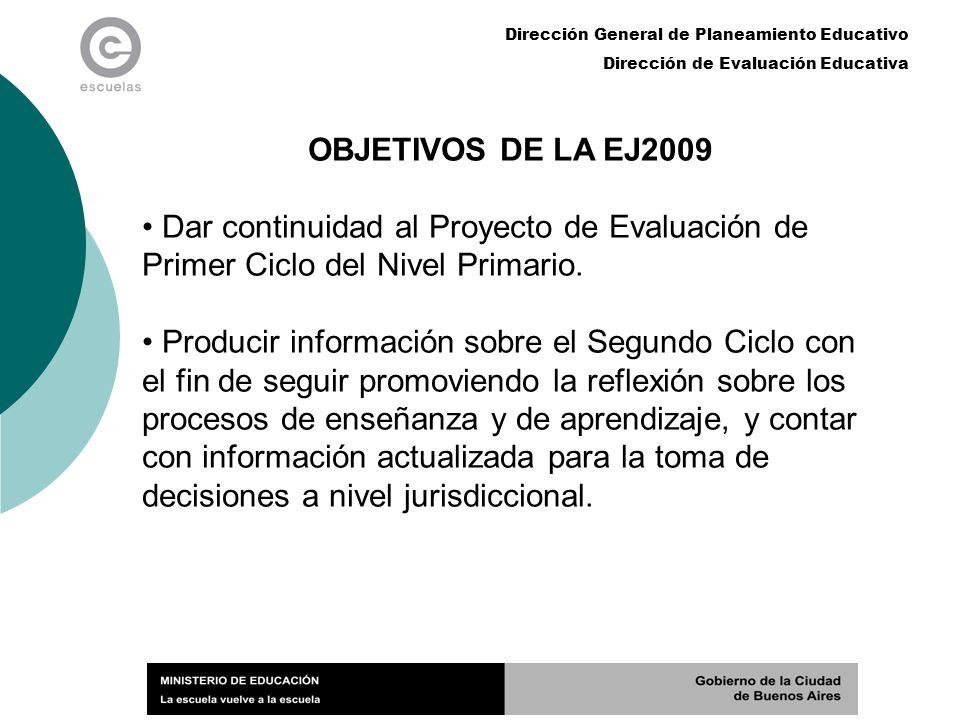 OBJETIVOS DE LA EJ2009 Dar continuidad al Proyecto de Evaluación de Primer Ciclo del Nivel Primario.