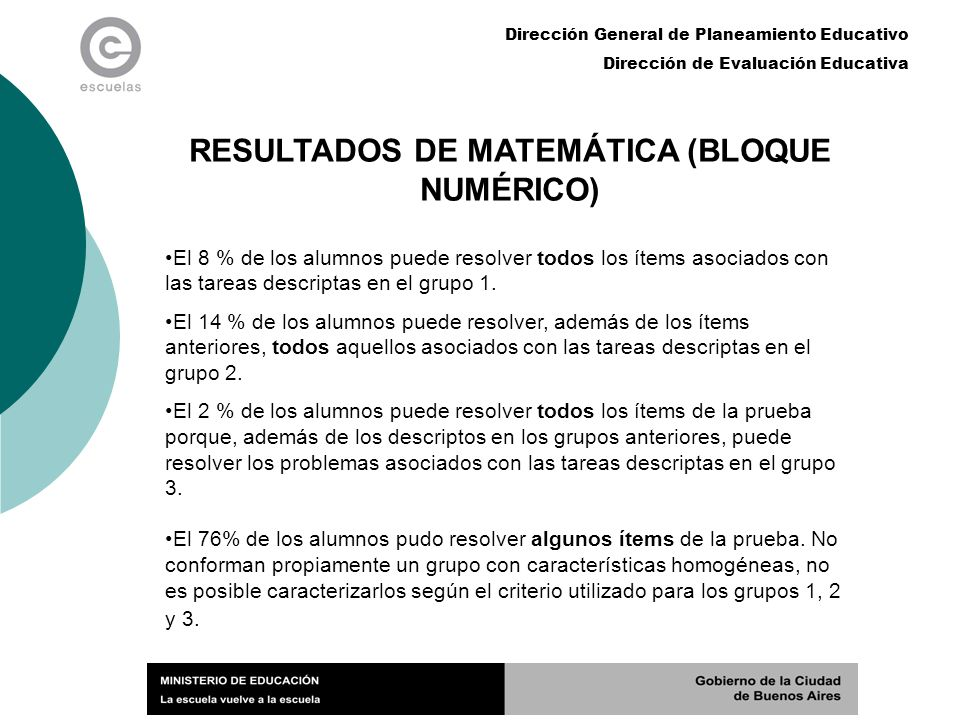 RESULTADOS DE MATEMÁTICA (BLOQUE NUMÉRICO)