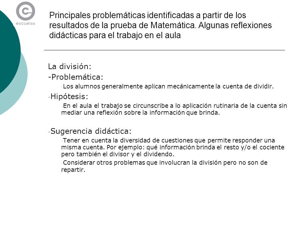 Principales problemáticas identificadas a partir de los resultados de la prueba de Matemática. Algunas reflexiones didácticas para el trabajo en el aula