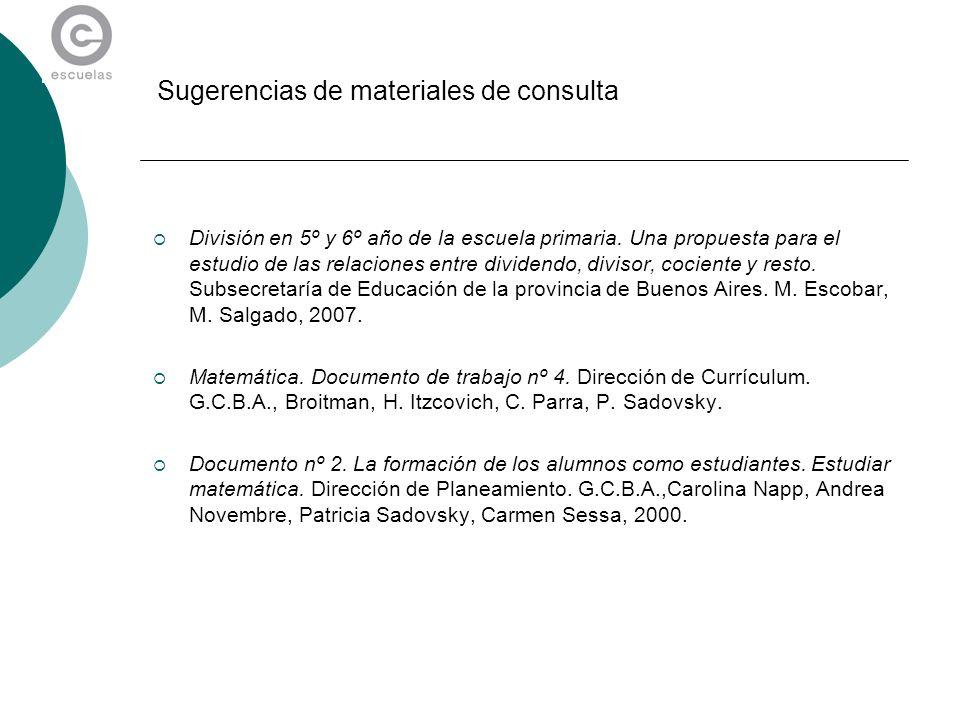 Sugerencias de materiales de consulta