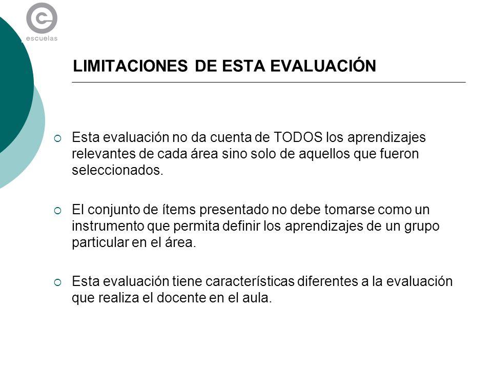 LIMITACIONES DE ESTA EVALUACIÓN