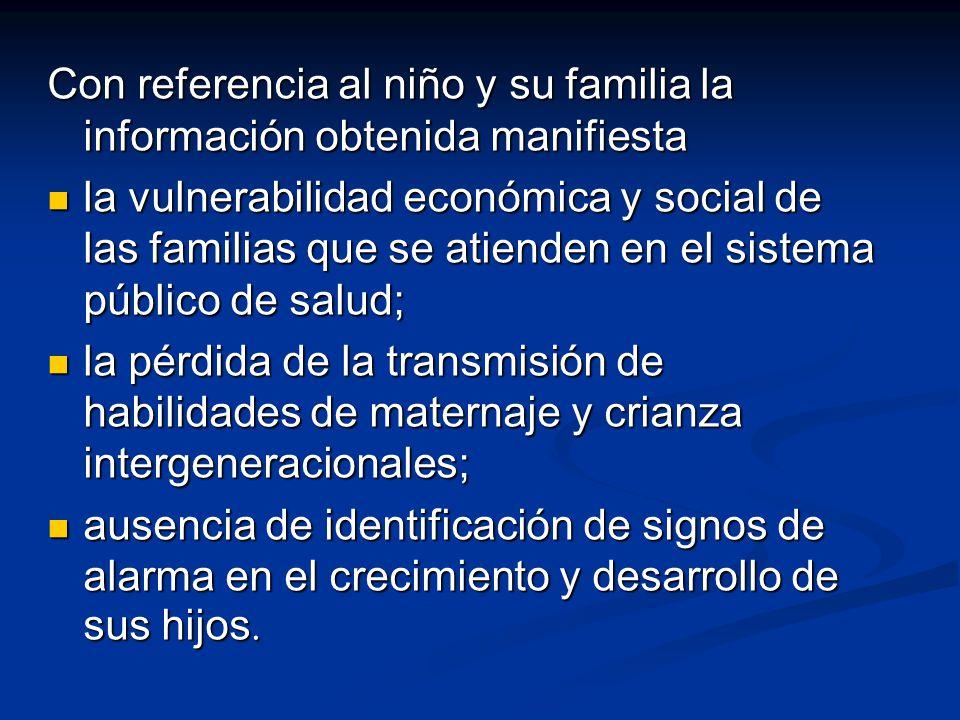 Con referencia al niño y su familia la información obtenida manifiesta
