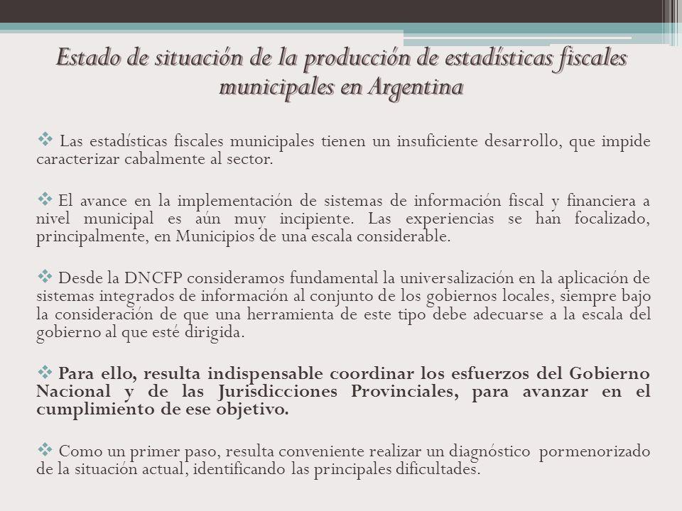 Estado de situación de la producción de estadísticas fiscales municipales en Argentina