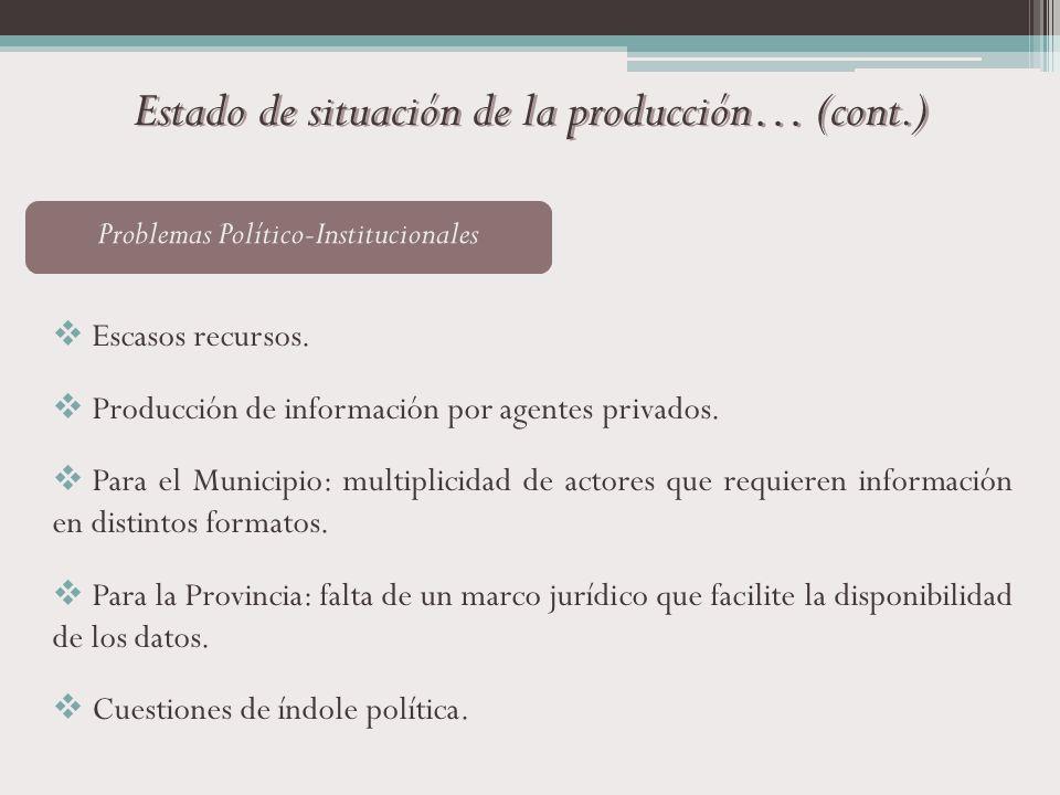 Estado de situación de la producción… (cont.)