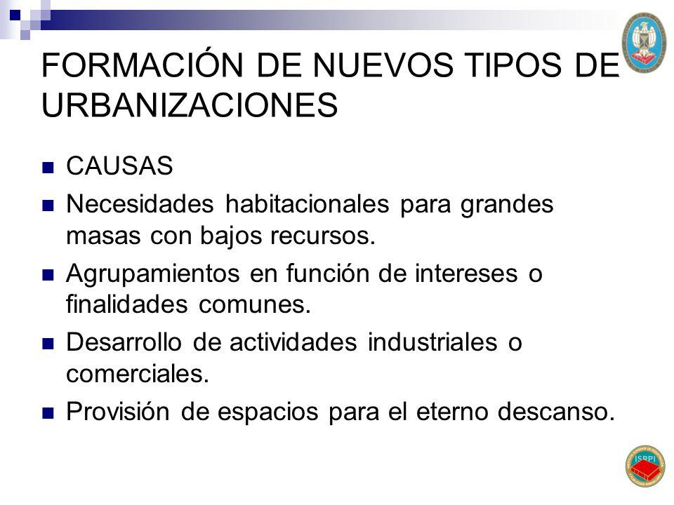 FORMACIÓN DE NUEVOS TIPOS DE URBANIZACIONES