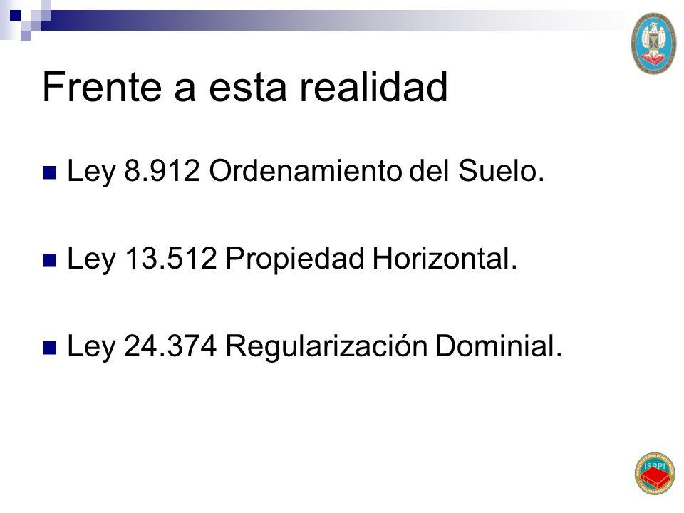 Frente a esta realidad Ley 8.912 Ordenamiento del Suelo.