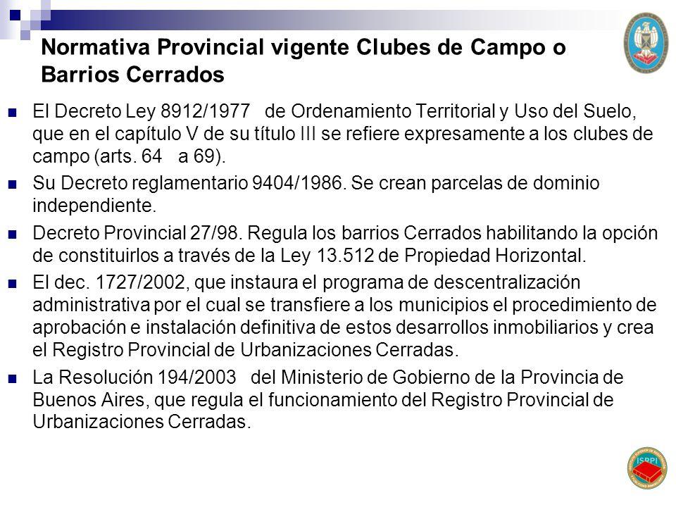 Normativa Provincial vigente Clubes de Campo o Barrios Cerrados