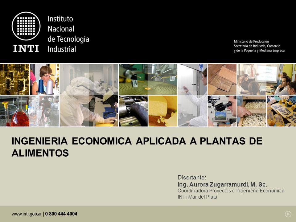INGENIERIA ECONOMICA APLICADA A PLANTAS DE ALIMENTOS
