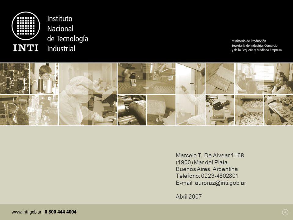 Marcelo T. De Alvear 1168 (1900) Mar del Plata. Buenos Aires, Argentina. Teléfono: 0223-4802801. E-mail: auroraz@inti.gob.ar.