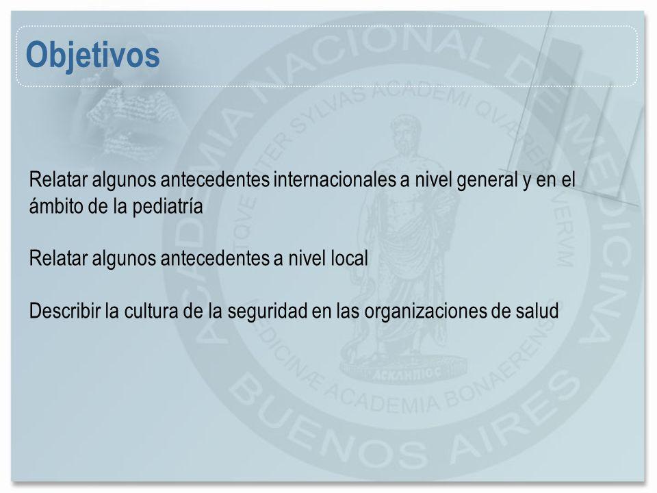 Objetivos Relatar algunos antecedentes internacionales a nivel general y en el ámbito de la pediatría.
