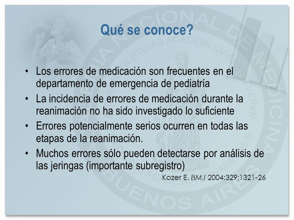 Qué se conoce Los errores de medicación son frecuentes en el departamento de emergencia de pediatría.