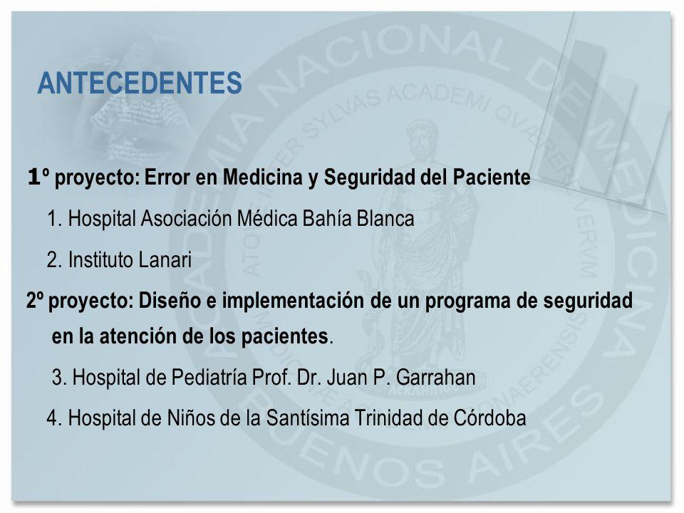 ANTECEDENTES 1º proyecto: Error en Medicina y Seguridad del Paciente