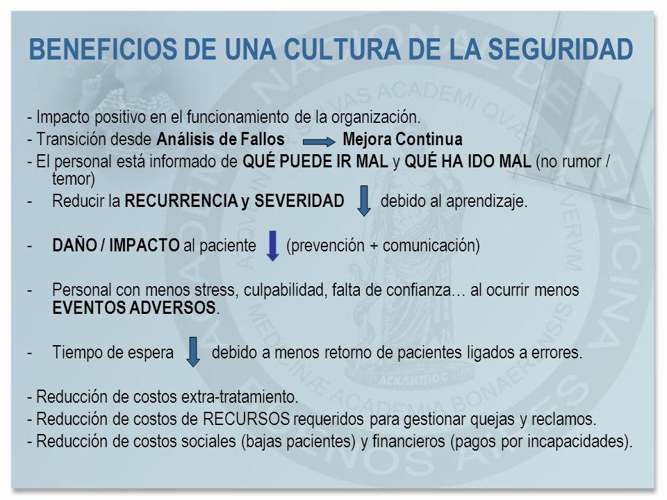 BENEFICIOS DE UNA CULTURA DE LA SEGURIDAD