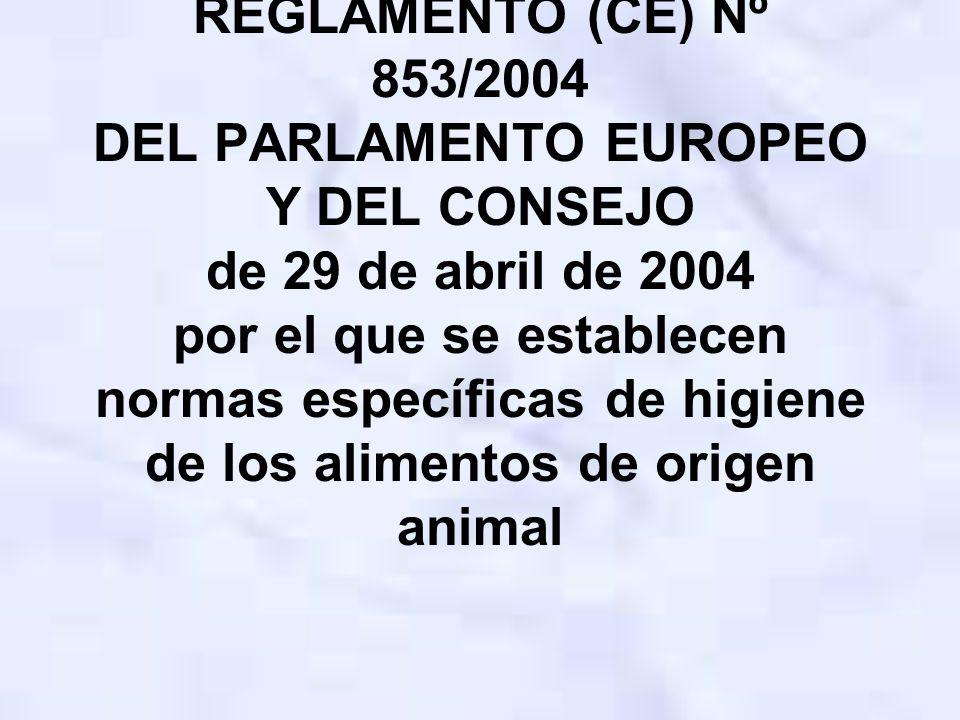 REGLAMENTO (CE) Nº 853/2004 DEL PARLAMENTO EUROPEO Y DEL CONSEJO de 29 de abril de 2004 por el que se establecen normas específicas de higiene de los alimentos de origen animal