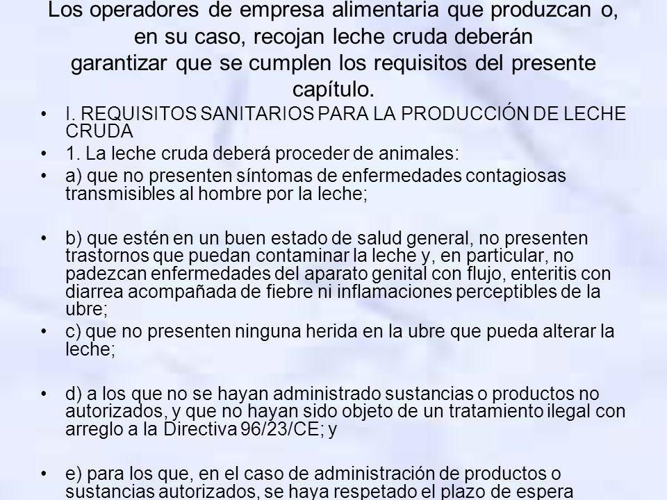 Los operadores de empresa alimentaria que produzcan o, en su caso, recojan leche cruda deberán garantizar que se cumplen los requisitos del presente capítulo.