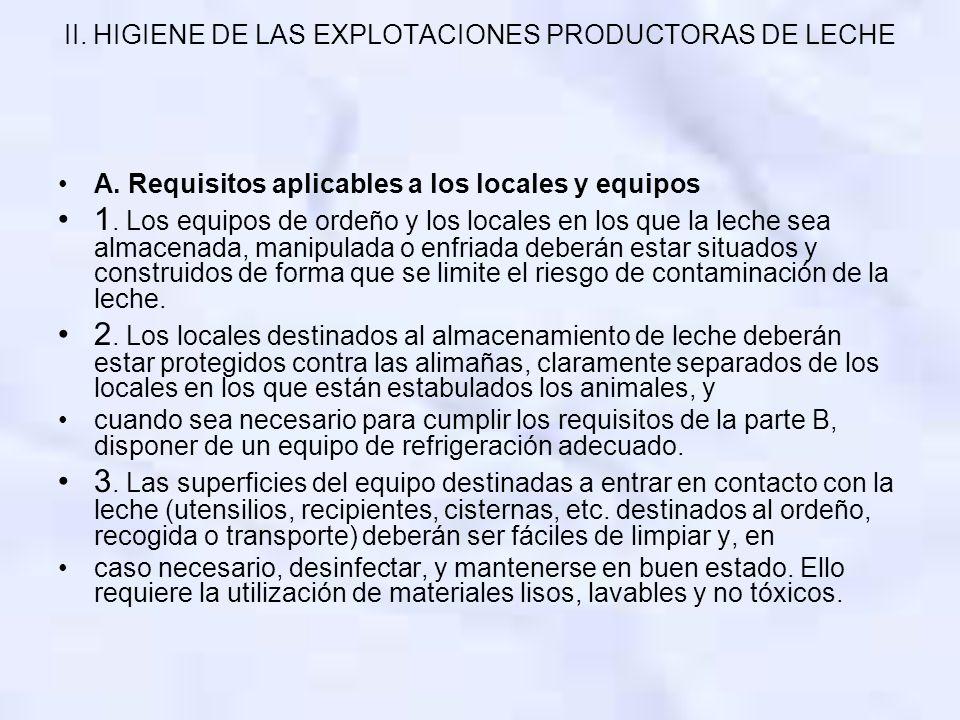 II. HIGIENE DE LAS EXPLOTACIONES PRODUCTORAS DE LECHE