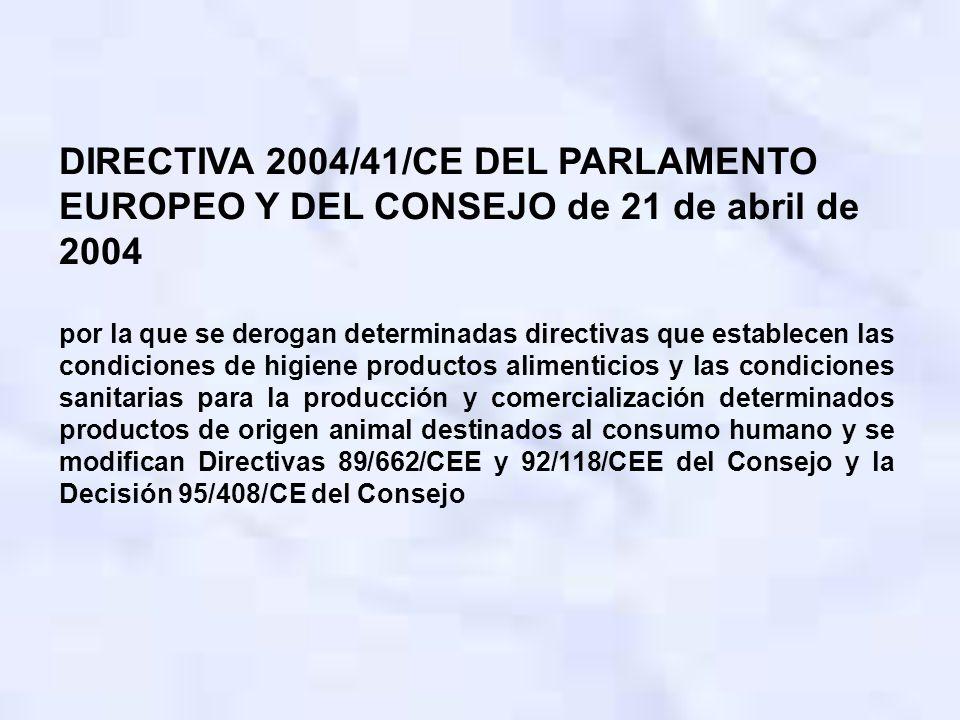 DIRECTIVA 2004/41/CE DEL PARLAMENTO EUROPEO Y DEL CONSEJO de 21 de abril de 2004