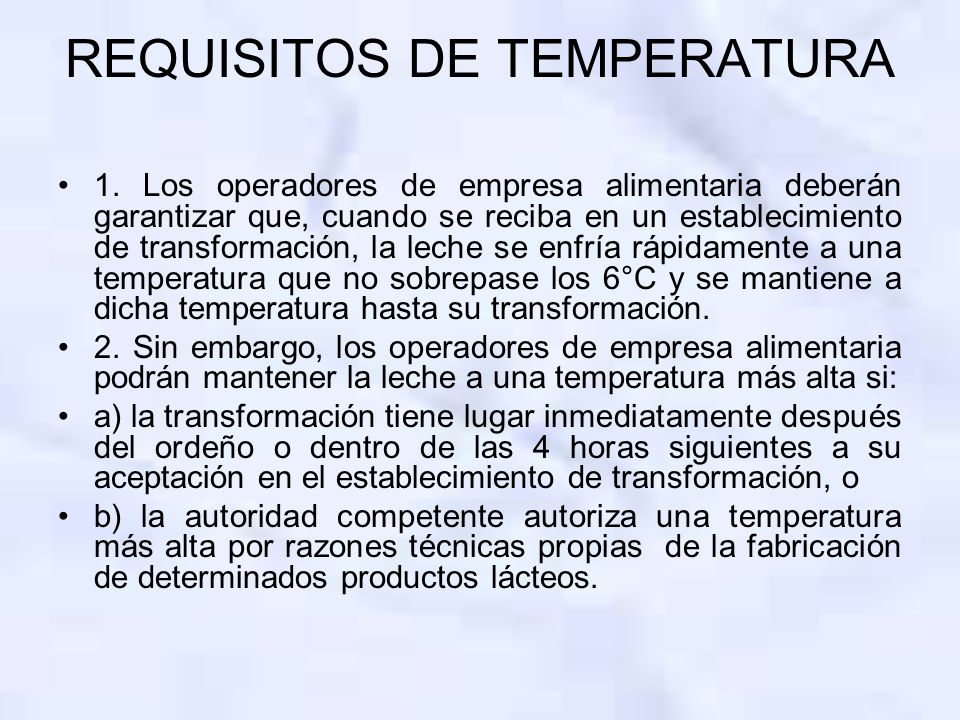 REQUISITOS DE TEMPERATURA