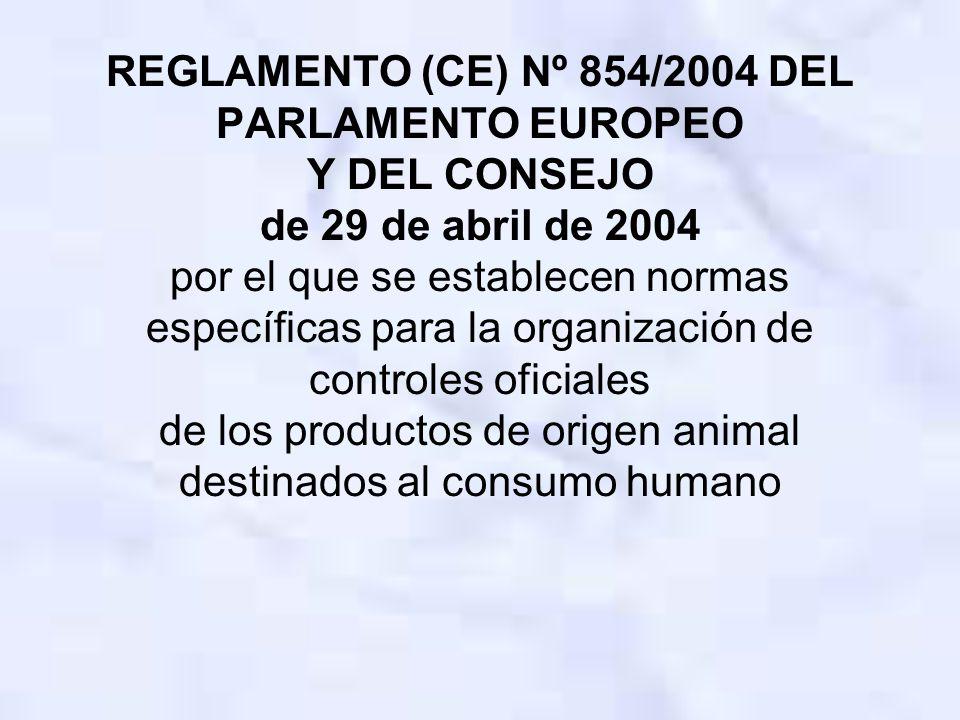 REGLAMENTO (CE) Nº 854/2004 DEL PARLAMENTO EUROPEO Y DEL CONSEJO de 29 de abril de 2004 por el que se establecen normas específicas para la organización de controles oficiales de los productos de origen animal destinados al consumo humano