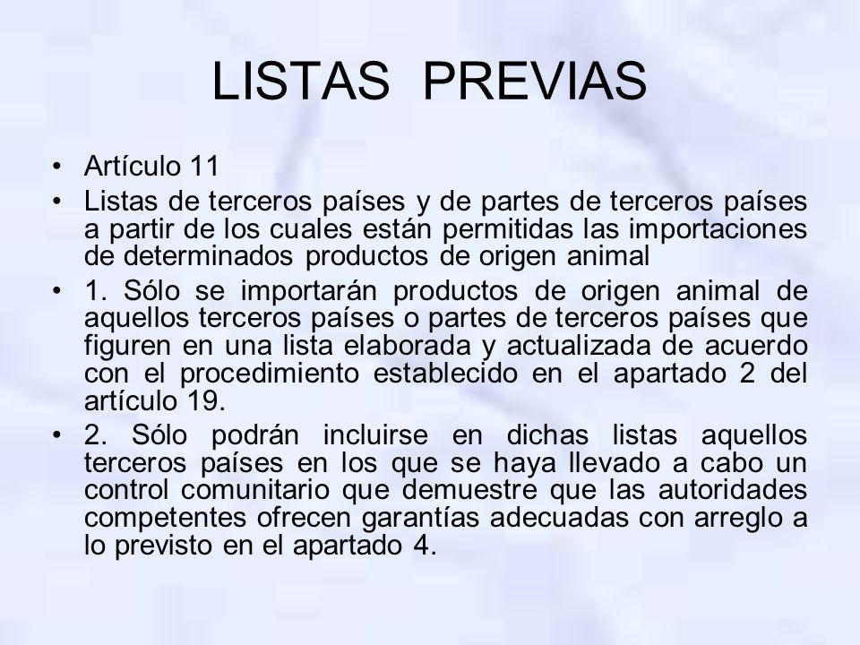 LISTAS PREVIAS Artículo 11