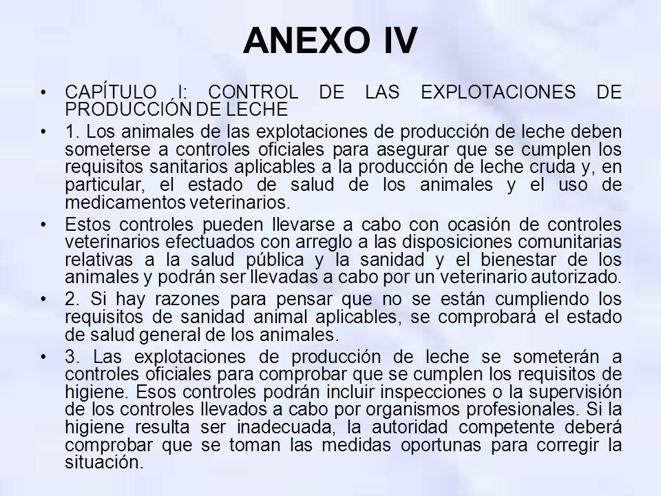 ANEXO IV CAPÍTULO I: CONTROL DE LAS EXPLOTACIONES DE PRODUCCIÓN DE LECHE.