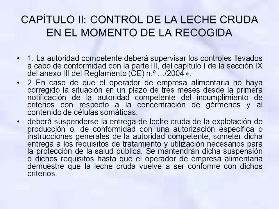 CAPÍTULO II: CONTROL DE LA LECHE CRUDA EN EL MOMENTO DE LA RECOGIDA