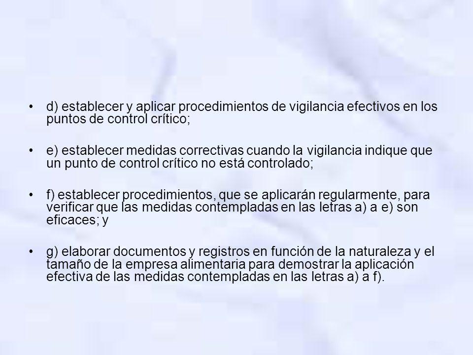 d) establecer y aplicar procedimientos de vigilancia efectivos en los puntos de control crítico;