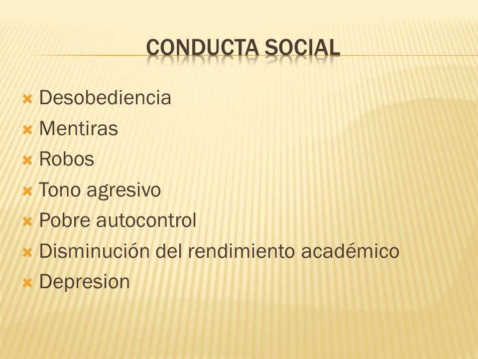 CONDUCTA SOCIAL Desobediencia Mentiras Robos Tono agresivo