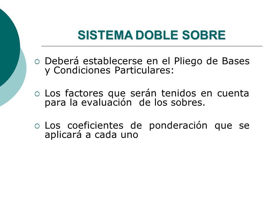 SISTEMA DOBLE SOBRE Deberá establecerse en el Pliego de Bases y Condiciones Particulares: