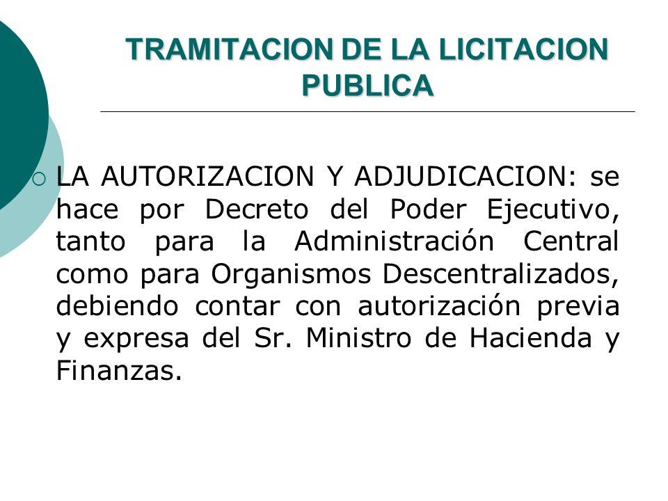 TRAMITACION DE LA LICITACION PUBLICA