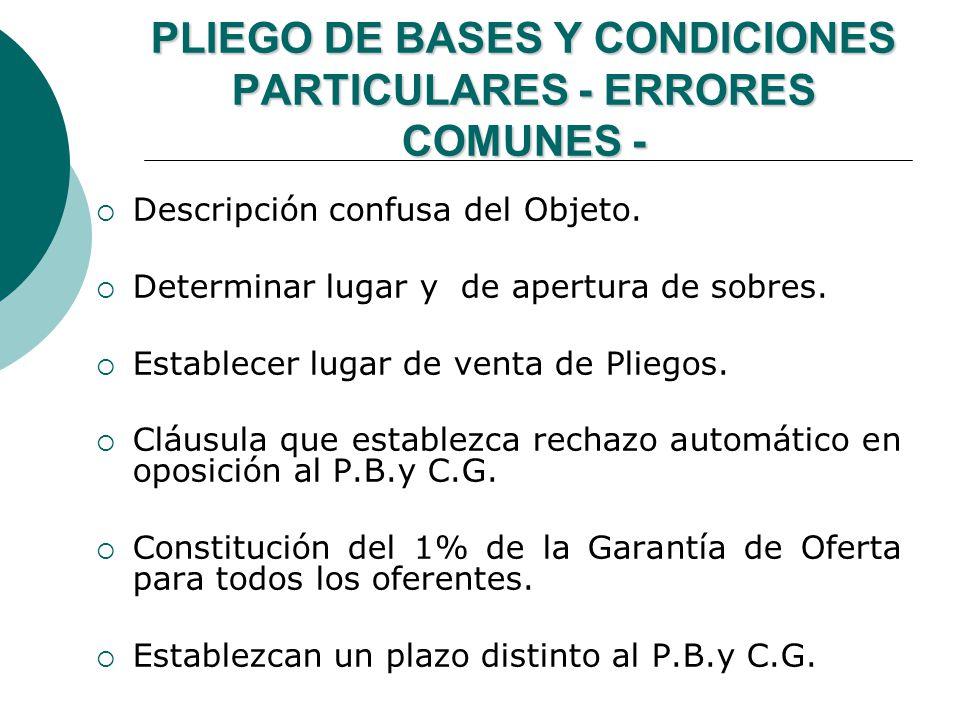 PLIEGO DE BASES Y CONDICIONES PARTICULARES - ERRORES COMUNES -