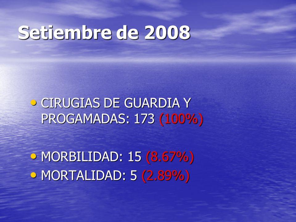 Setiembre de 2008 CIRUGIAS DE GUARDIA Y PROGAMADAS: 173 (100%)