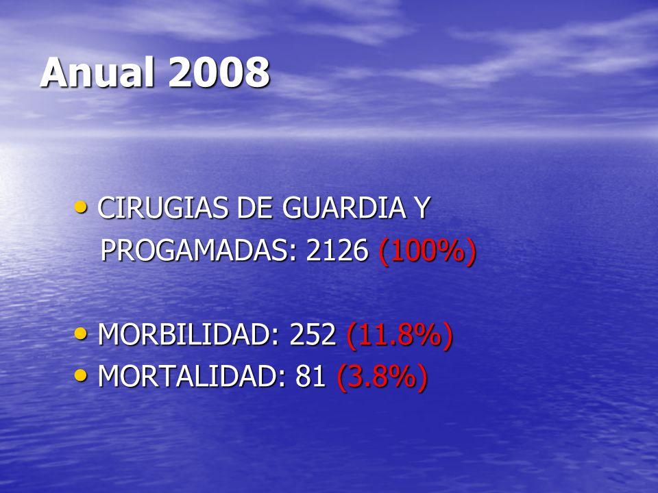 Anual 2008 CIRUGIAS DE GUARDIA Y PROGAMADAS: 2126 (100%)