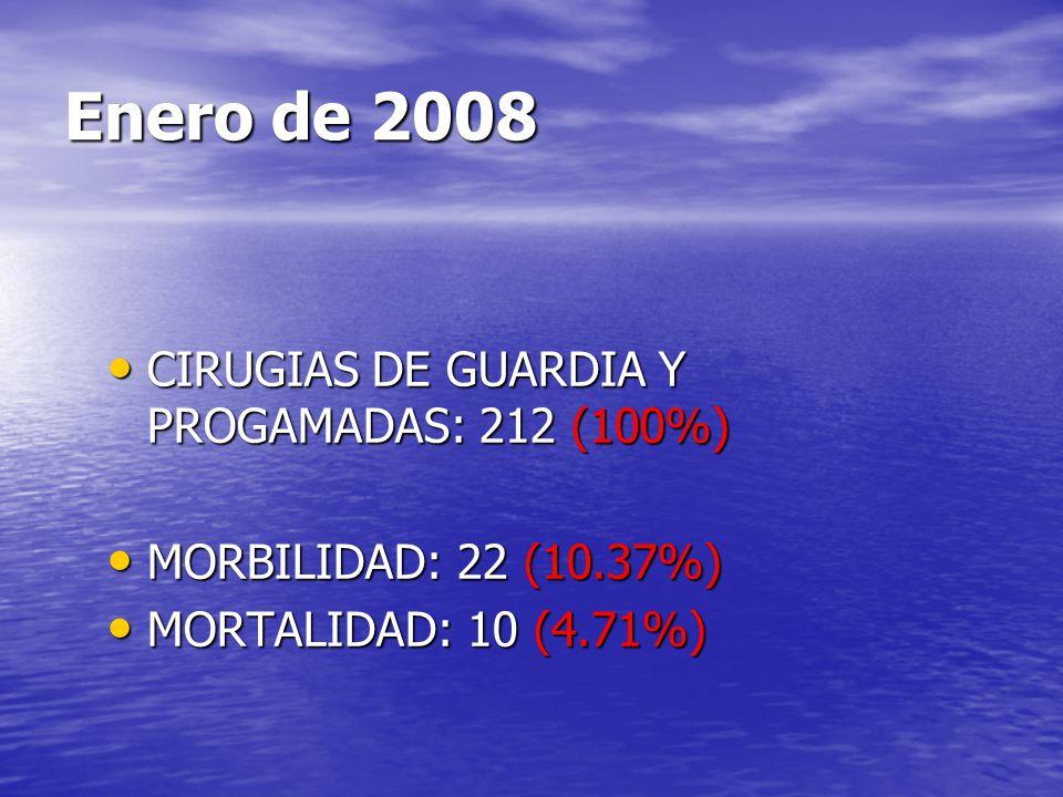 Enero de 2008 CIRUGIAS DE GUARDIA Y PROGAMADAS: 212 (100%)