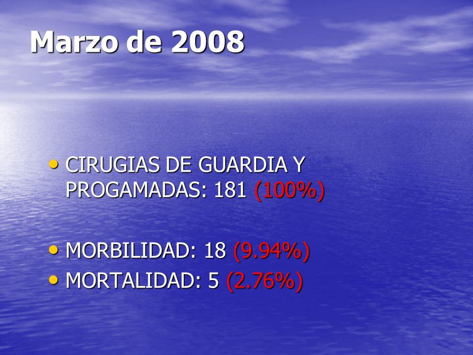 Marzo de 2008 CIRUGIAS DE GUARDIA Y PROGAMADAS: 181 (100%)