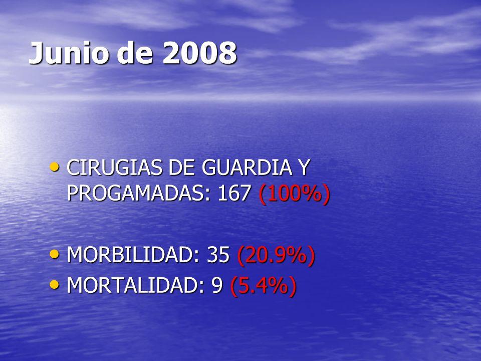 Junio de 2008 CIRUGIAS DE GUARDIA Y PROGAMADAS: 167 (100%)