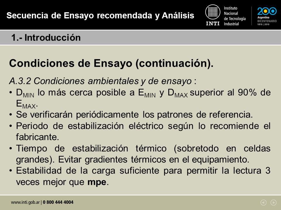 Condiciones de Ensayo (continuación).