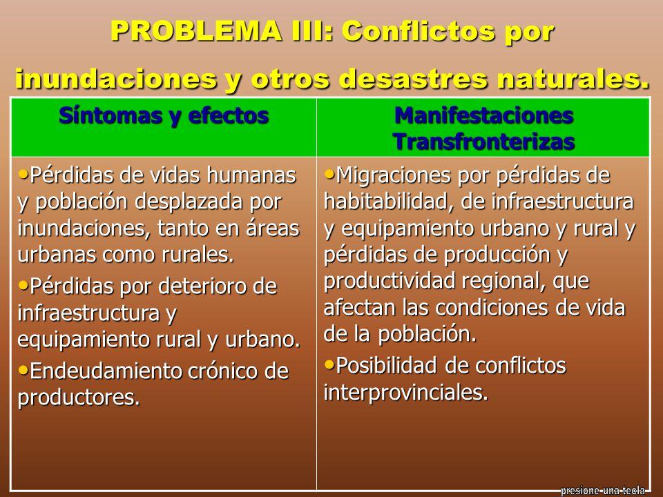 PROBLEMA III: Conflictos por inundaciones y otros desastres naturales.