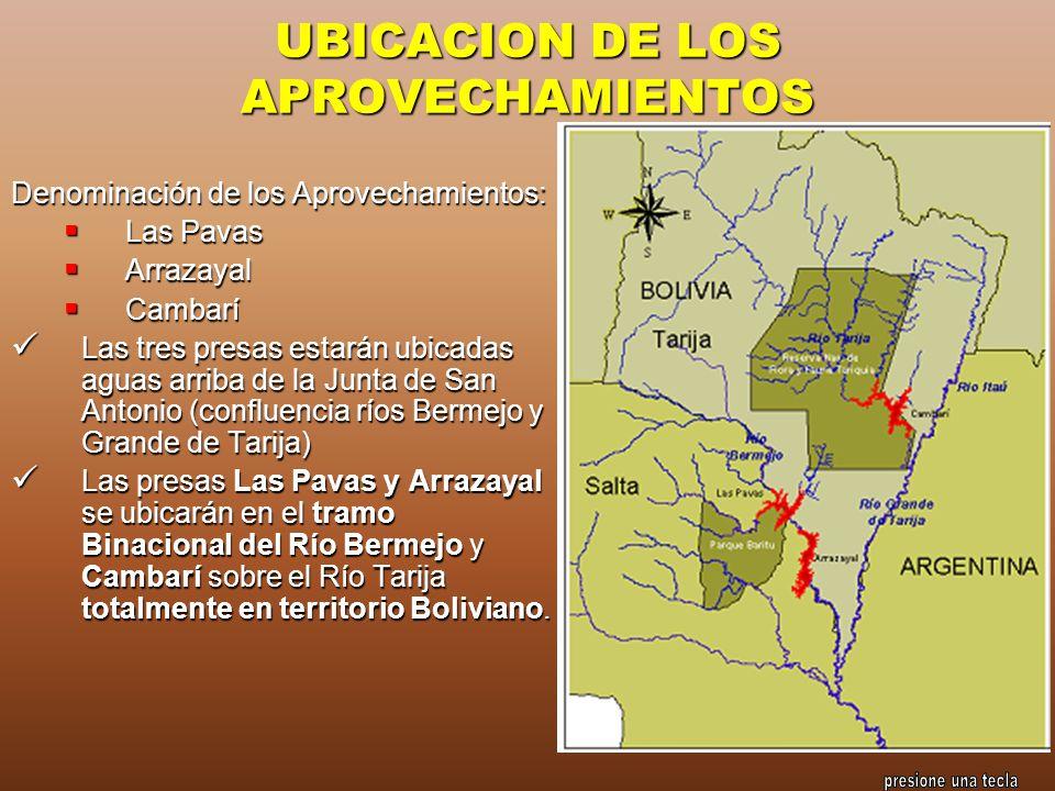 UBICACION DE LOS APROVECHAMIENTOS