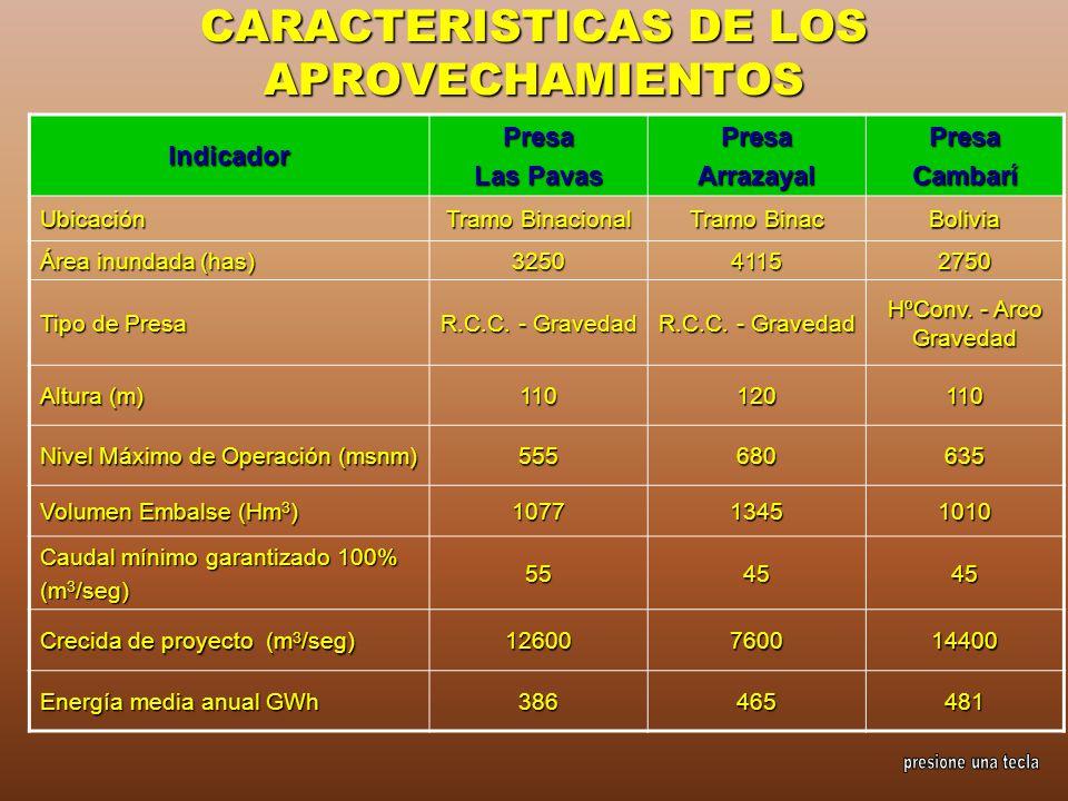 CARACTERISTICAS DE LOS APROVECHAMIENTOS