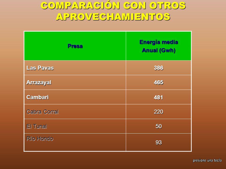 COMPARACIÓN CON OTROS APROVECHAMIENTOS
