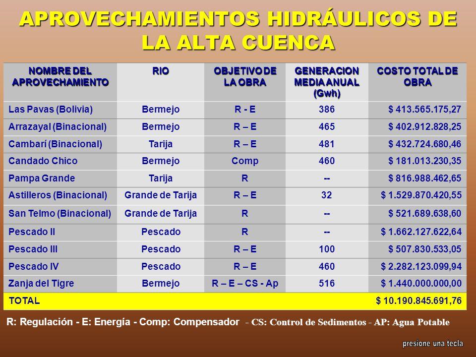 APROVECHAMIENTOS HIDRÁULICOS DE LA ALTA CUENCA