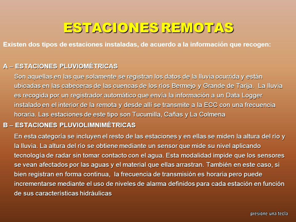 ESTACIONES REMOTAS Existen dos tipos de estaciones instaladas, de acuerdo a la información que recogen: