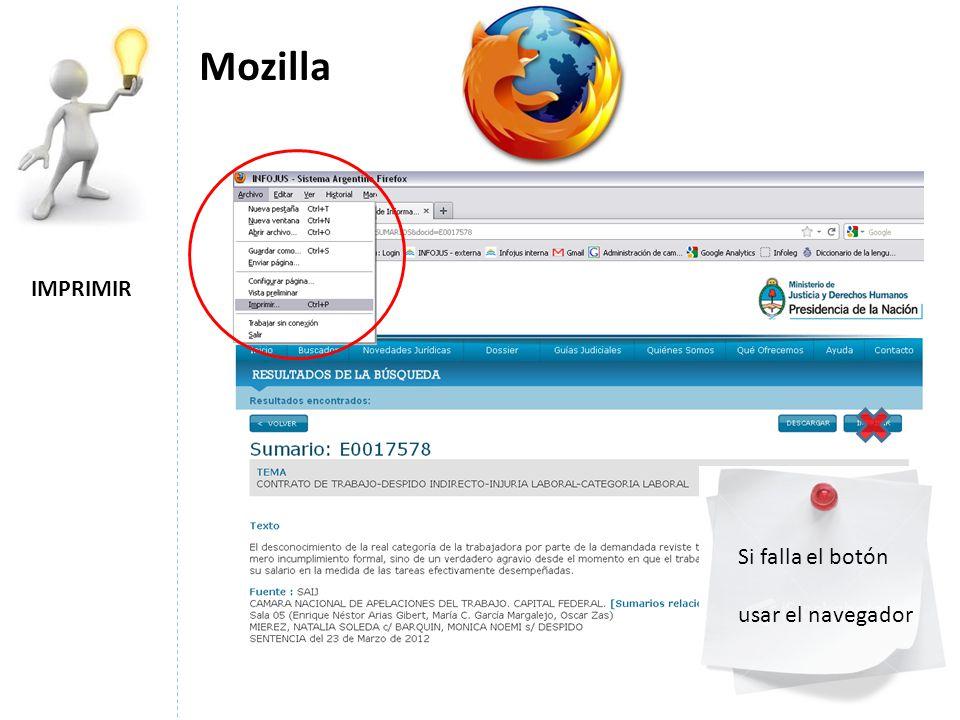 Mozilla IMPRIMIR Si falla el botón usar el navegador
