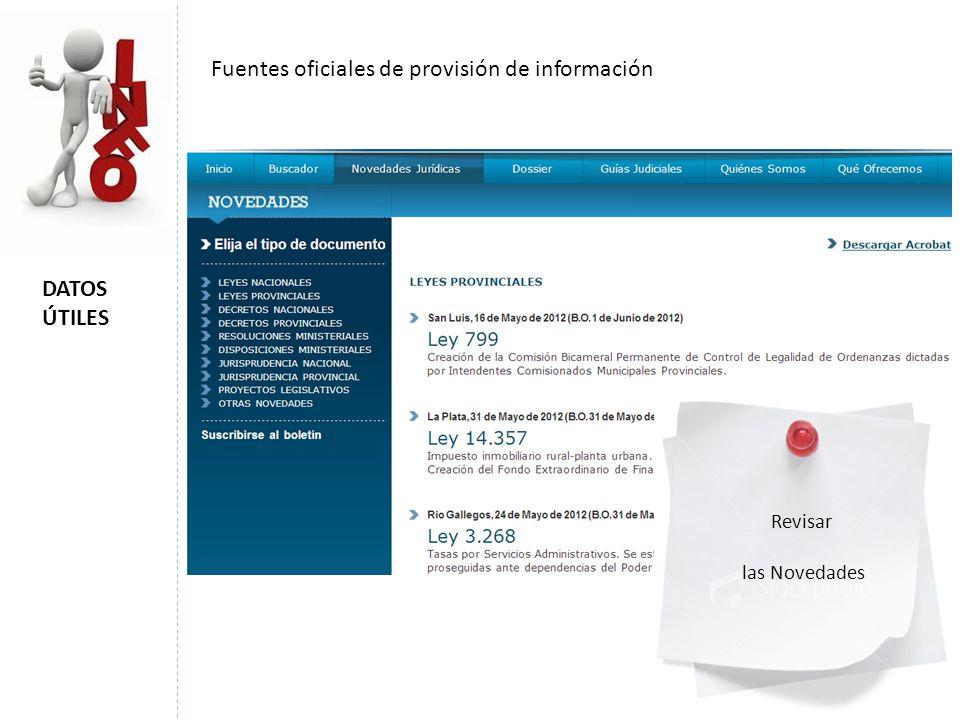 Fuentes oficiales de provisión de información